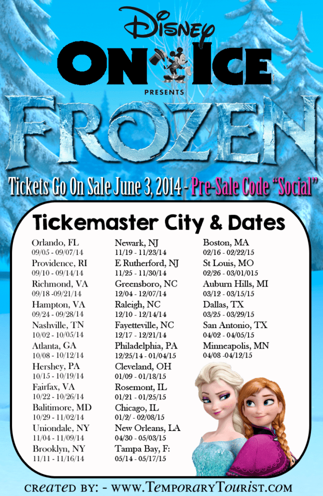 Disney on Ice Frozen Dates and Pre-Sale Code
