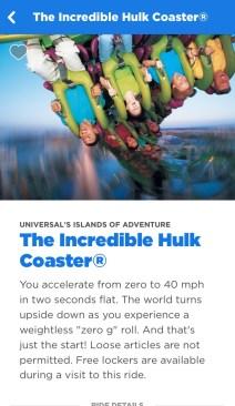 Universal Studios iOS mobile app The Incredible Hulk Coaster ride screen.