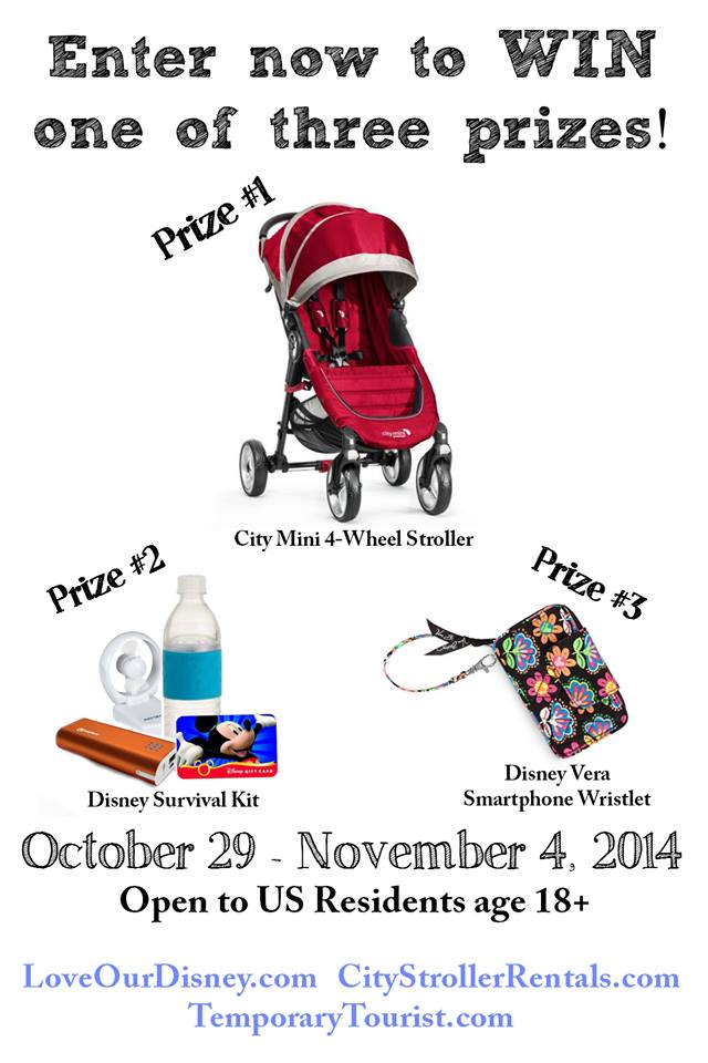 Win a City Mini Single Stroller, or a Disney Survival Kit or a Midnight Mickey Veera Bradley Smart Phone Wallet Wrislet