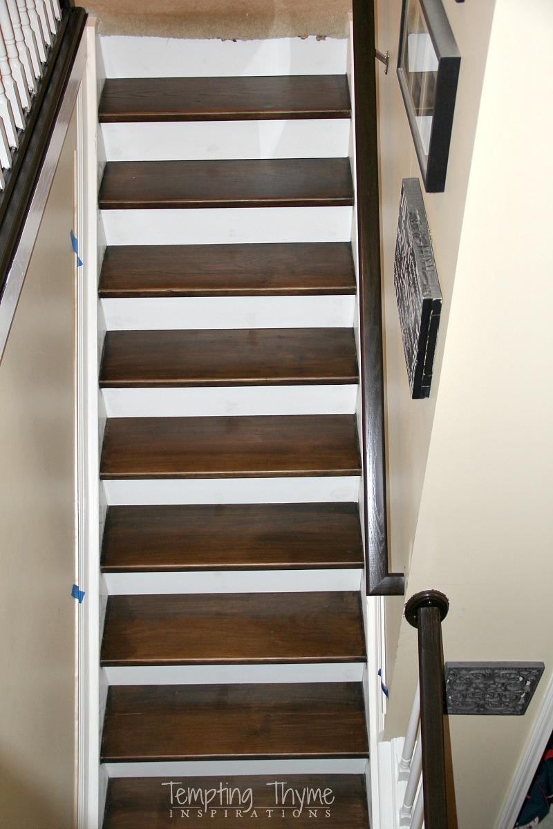Heading On Up Installing New Stair Risers Tempting Thyme   Staining Stair Treads And Painted Risers   Open Stair Basement   4 Thick   Walnut   Design   Commercial Business