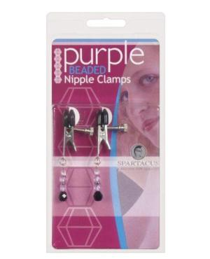 Spartacus Adjustable Broad Tip Nipple Clamps w/Purple Beads