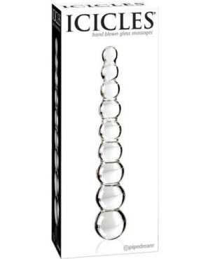 Icicles No. 2 Hand Blown Glass Massager - Clear Rippled
