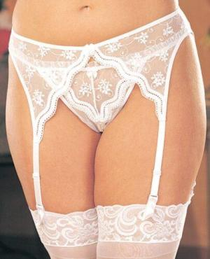 Scalloped Embroidery Garterbelt w/Adjustable Front & Back Garters White 3X/4X