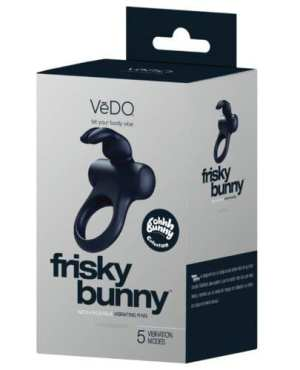 VeDO Frisky Bunny Rechargeable Vibrating Ring - Black Pearl
