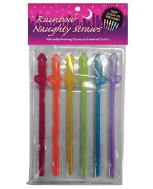 Naughty Glow in the Dark Rainbow Straws - Pack of 6