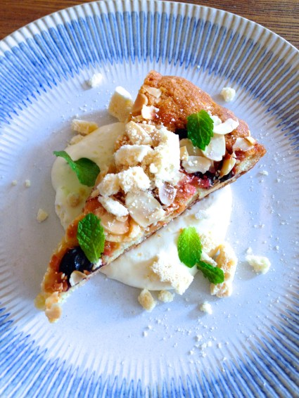 Sour cherry frangipane tart