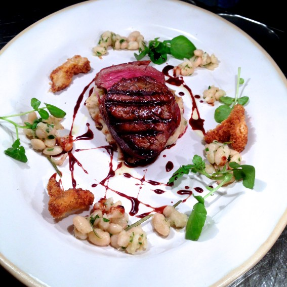 eye fillet, cannellini bean, crumbed oyster mushroom & chicken jus