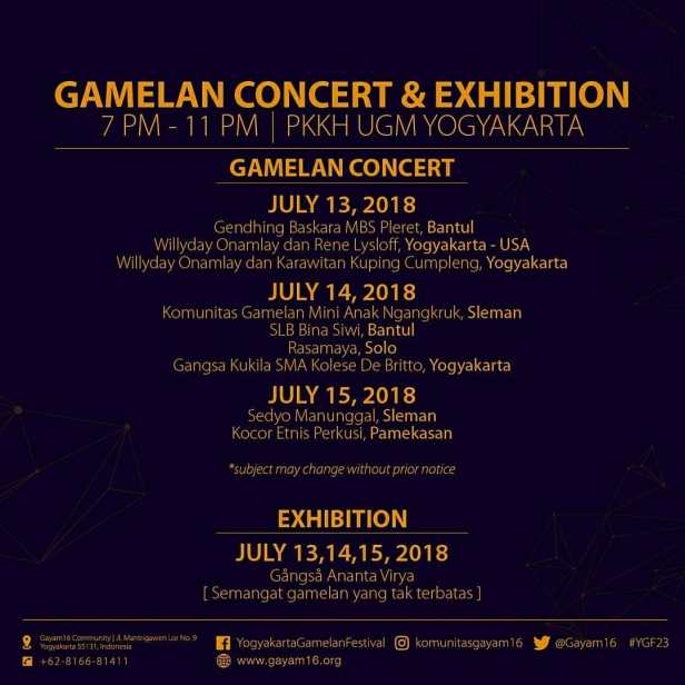 Gamelan Concert and Exhibition Yogyakarta Gamelan Festival 2018