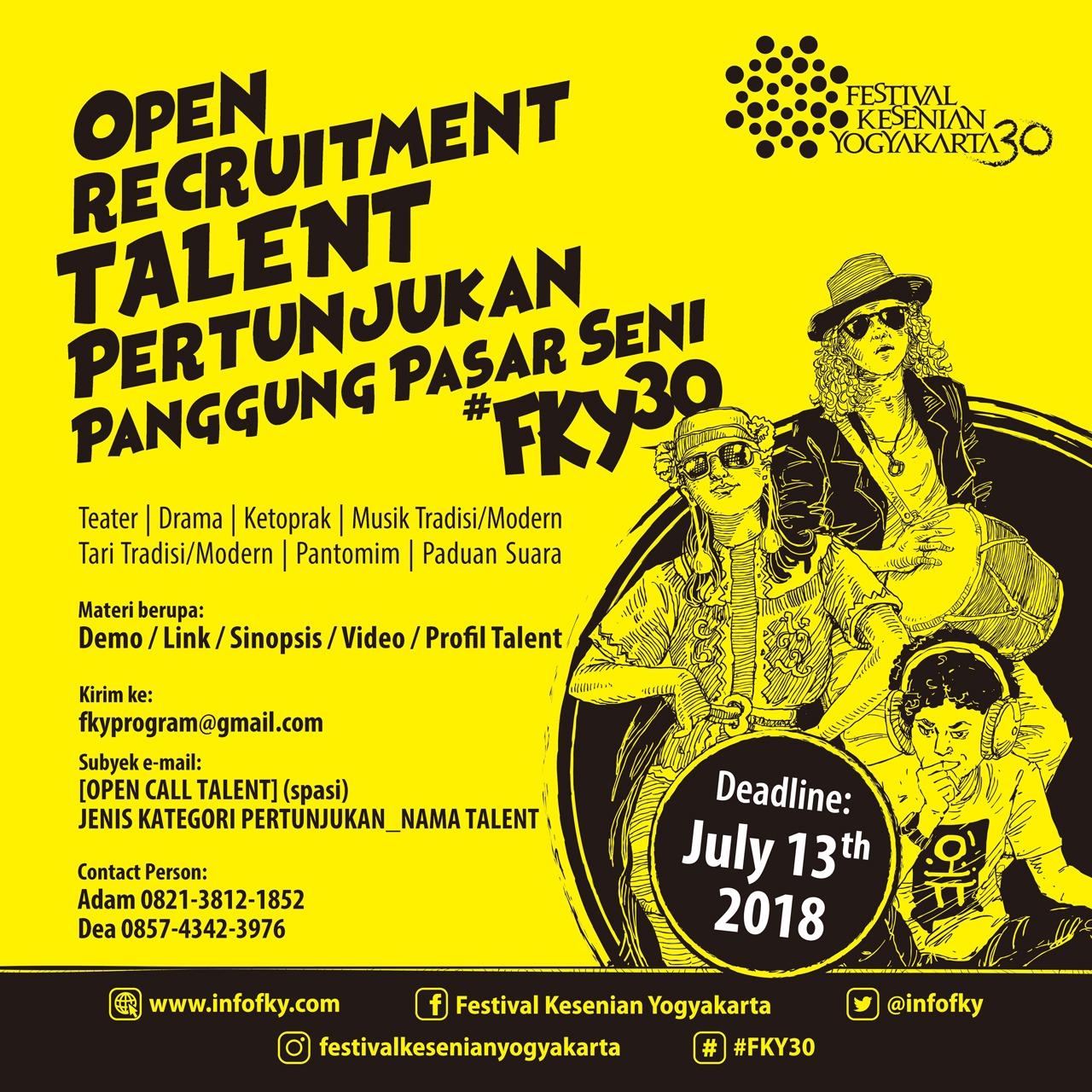 Open Recruitment Talent Festival Kesenian Yogyakarta 2018