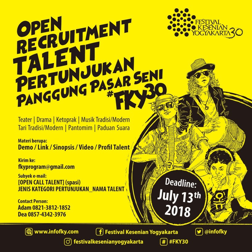 Open Recruitment Talent Festival Kesenian Yogyakarta 2018