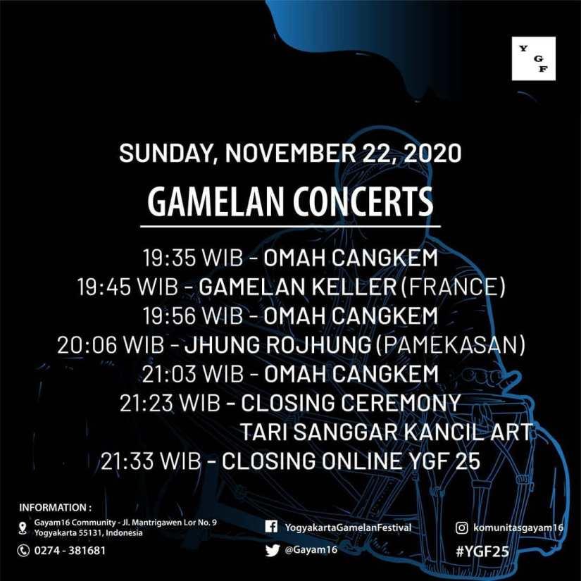 Agenda Gamelan Concerts YGF ke-25 - 25 November 2020