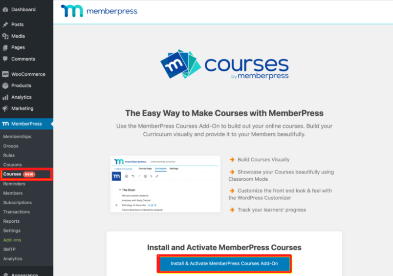 MemberPress Courses add-on your WordPress dashboard for creating and selling online courses.