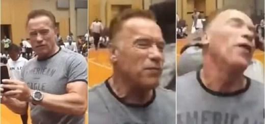 Arnold Schwarzenegger, attore, attori, actors, actor, attori, cinema, star, star life, hollywood, news, aggressione, calcio, spalle, folle, Terminator, fan.