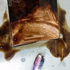 washing away asphaltum after acid bath
