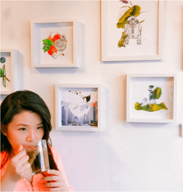 Collage artist Selina Yung and her wall of collages