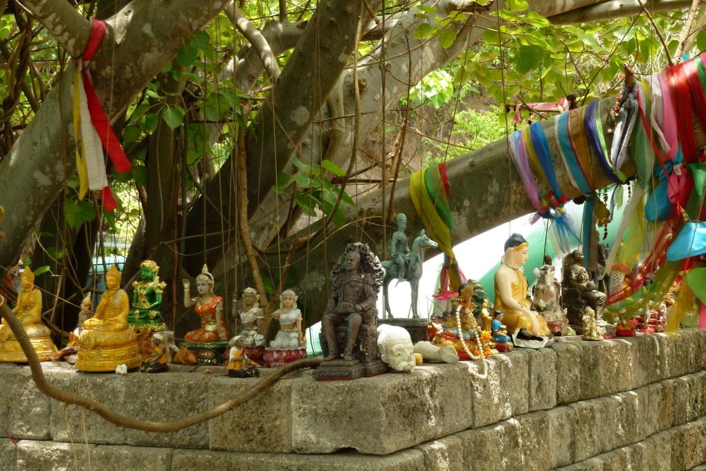 Arrêt devant les temples bouddhistes.