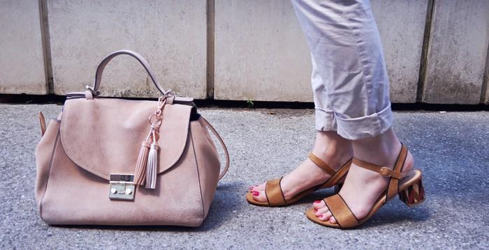 look beige chaussures et sac