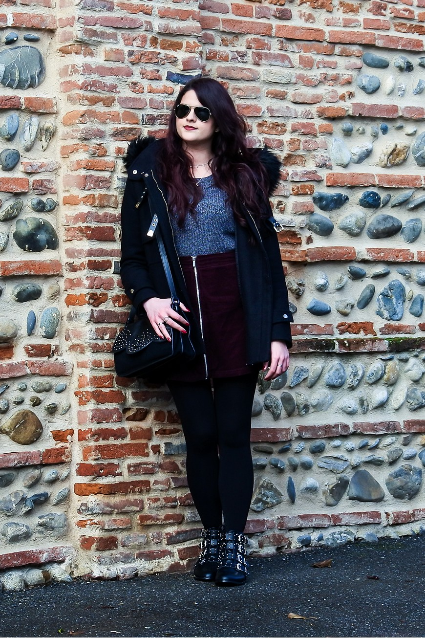Look n°114 • Bottines rock et jupe en velours