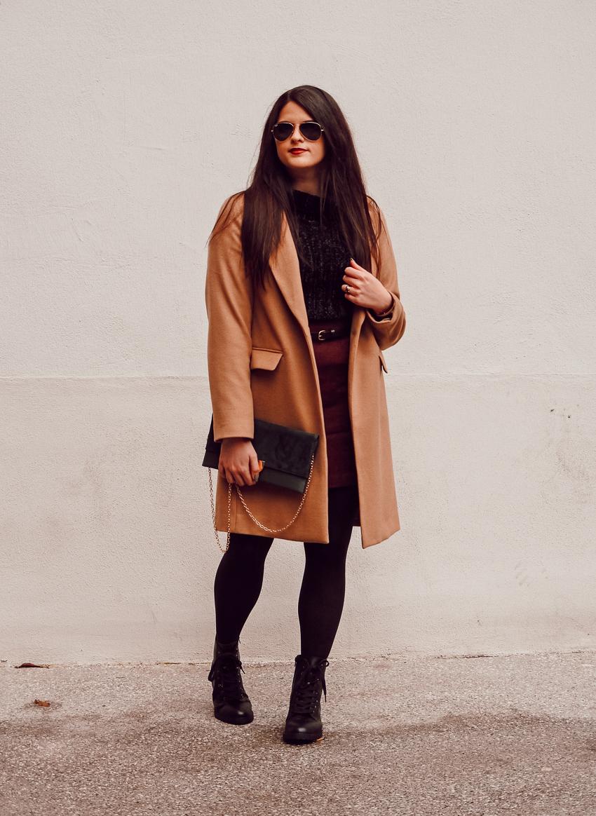 Look n°152 • Pull chenille sous un long manteau