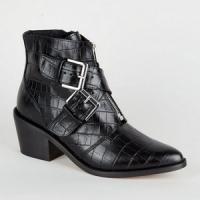 Bottes noires western en cuir