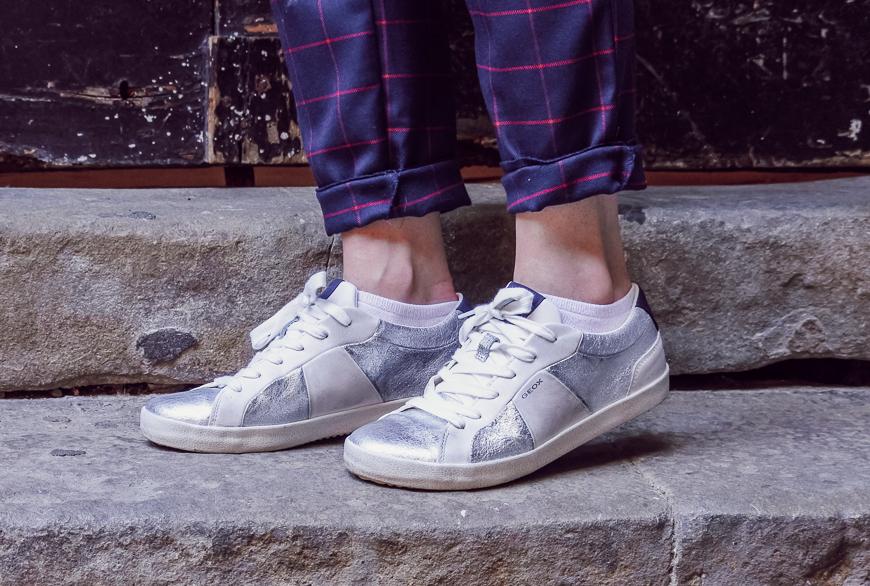 baskets argentées Geox