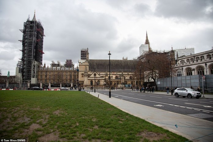 In the days before the furlough scheme was introduced, Rishi Sunak faced intense pressure to protect workers in non-essential industries (pictured, a deserted Westminster)