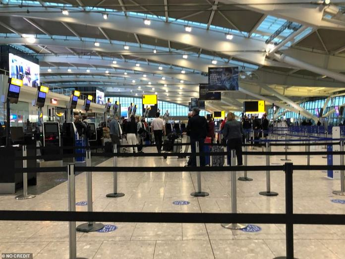 Small queues of holidaymakers who will be jetting off overseas for a break as travel restrictions are eased from today