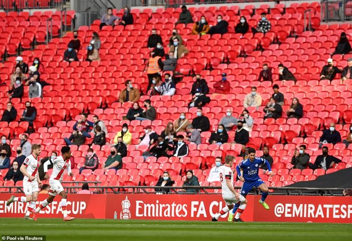 Football fans at Wembley Stadium at a pilot event for the FA Cup semi-final last month