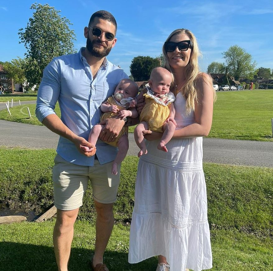 Alex James, 33, and Verity Blair, 34, from Haslemere in Surrey, with their twins Penelope (left) and Sofia (right)