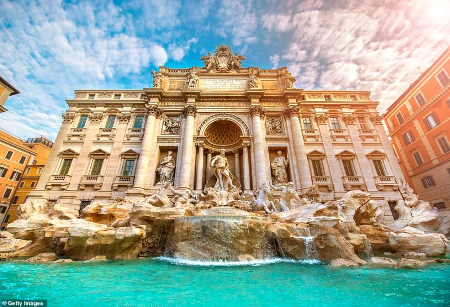 Italy currently has a five-dayquarantine requirement for all UK arrivals. Pictured is Rome's Trevi Fountain