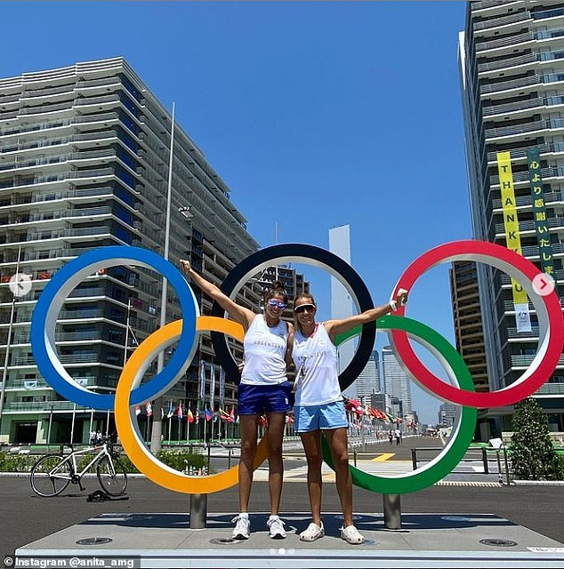 Anapartnered with blocker Fernanda Pereyra in 2018, with whom she won a silver medal at the 2019 Pan-American Games and a top 10 finish on the FIVB Beach Volleyball World Tour the same year (pictured in Tokyo)