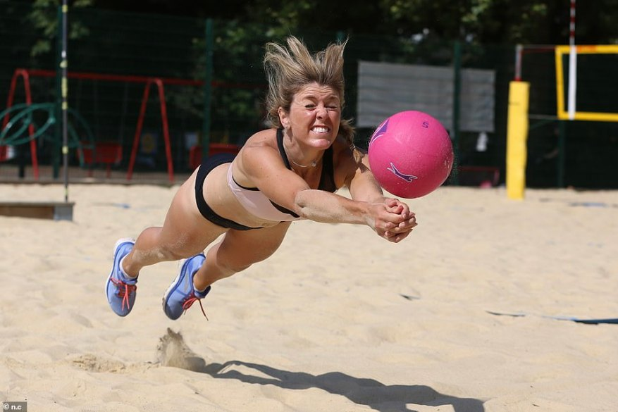 Hayley tested out the bikini bottoms against lycra shorts - like those worn by the Norwegian handball team - and knicker shorts to see how they fared on the sand