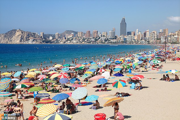 The idea, which was agreed in principle this week, would see tourists warned that while they are abroad certain amber countries could go on to the red list. Pictured:Benidorm in Spain