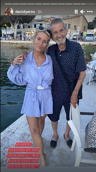 Special occasion: Dani was seen celebrating her grandad Bruv's birthday while on holiday