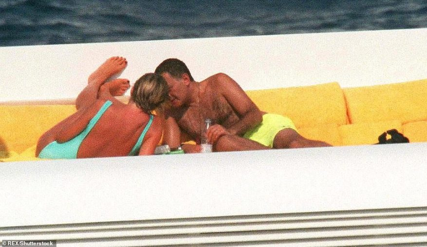 Final days: A snap of Diana and Dodi Fayed enjoying each other's company on his father's yacht Jonikal (now called the Sokar) in St Tropez in the summer of 1997