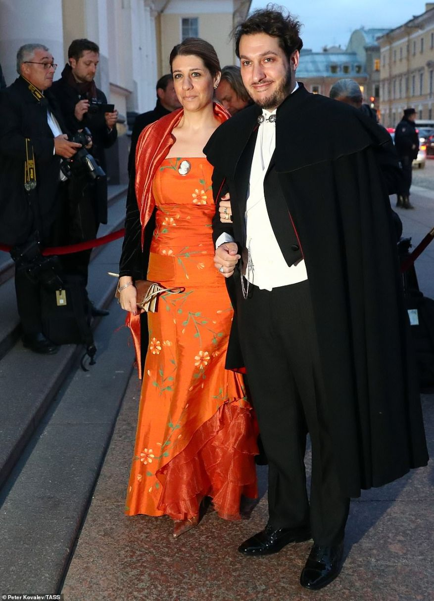 Democrat Youth Community of Europe (DEMYC) Chairman Javier Hurtado Mira and his date arrive for the reception at the Russian Museum of Ethnography.