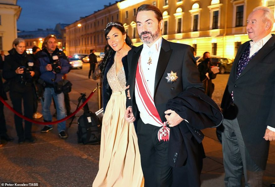 Joachim Murat, Prince of Pontecorvo, a member of the Bonaparte-Murat family, and his wife Yasmine Lorraine Briki arrive for a reception at the Russian Museum of Ethnography.