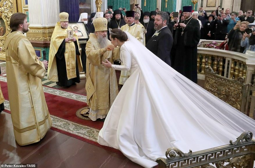 The Metropolitan Varsonofy of St Petersburg and Ladoga during the wedding of Grand Duke George Mikhailovich of Russia.
