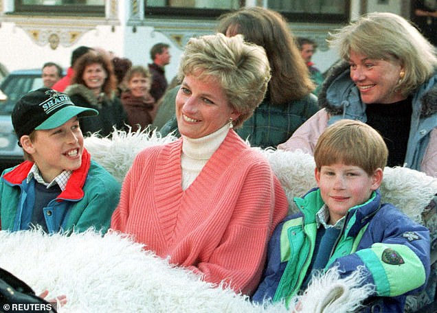 Biopic: Both Timothee and Teddy could recently be seen filming with Elizabeth, who is taking over the role of Diana (William, left, and Harry, right, with Diana, centre, in 1994)