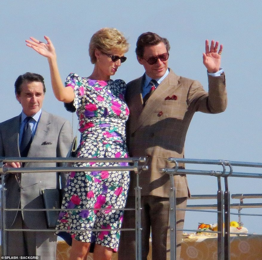 Friendly: The pair gave a warm wave as they filmed the new scenes on the boat together