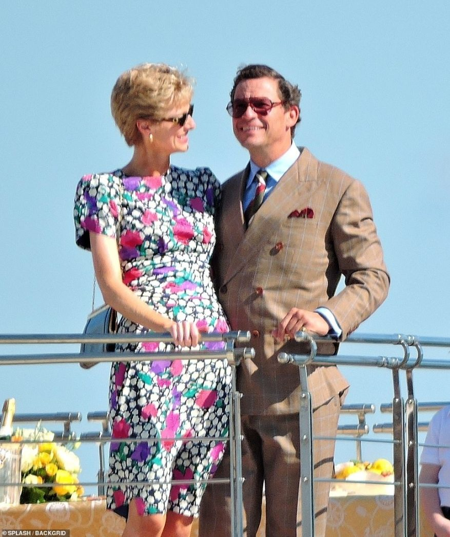 Troubled marriage: The actress, 31, was joined on location by Dominic 51, as they boarded the Christina O yacht off shore of the Balearic Island, in scenes recreating the pair's trip to Italy in 1991