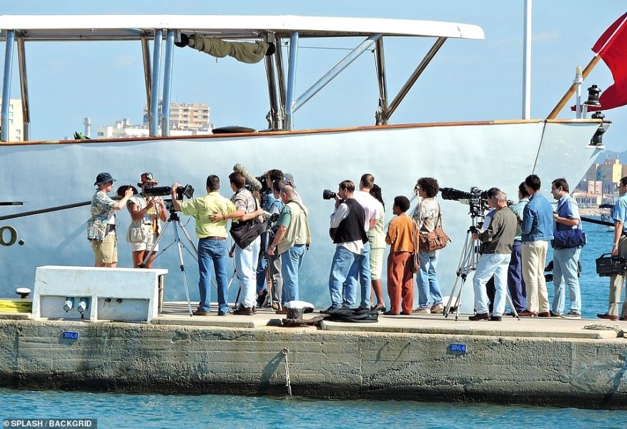 Paparazzi: The press were lined up next to the vessel to take pictures