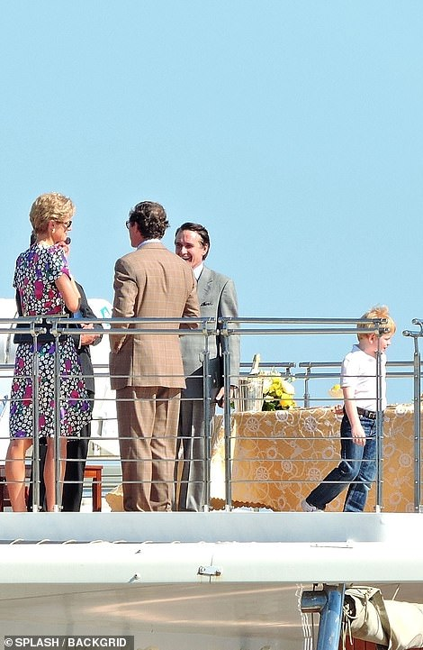 Chatting: The child actors were seen playing on the deck of the boat