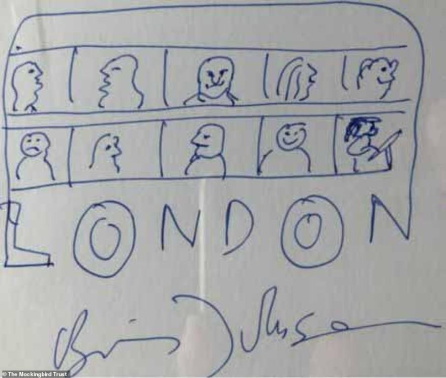 Boris Johnson's signed bus doodle for the Ann Wilkinson Mockingbird Trust raised £1,000 for the child cancer charity when he was Mayor of London