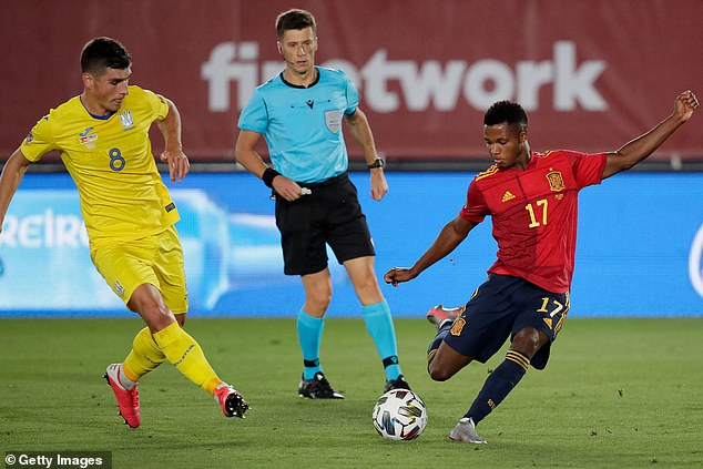 Spain's youngest ever scorer Ansu Fati (right) will surely be recalled once he is up to speed