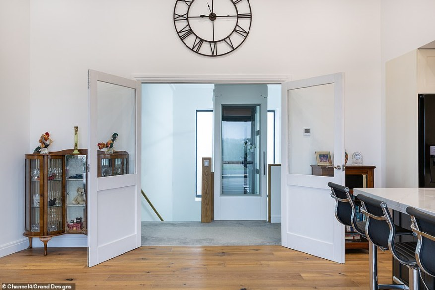 The 63-year-old explained how he decided to build the project right on a flood plain with a £700,000 budget and ambitious eight-month schedule. Pictured, the dining area