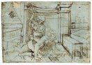 07. Leonardo da Vinci. Phyllis (or Campaspe) riding Aristotle, c 1480.