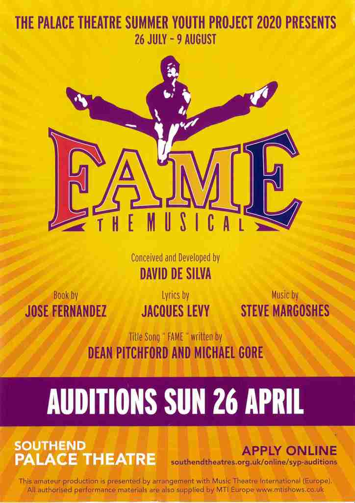 The Palace Theatre Summer Youth Project Auditions take place on Sunday 26 April