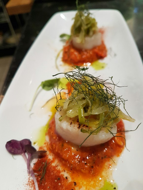 Scallops with Romesco Sauce.