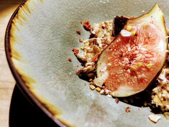 Picture figs, cheese, and honey with bee pollen